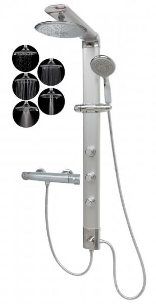 Thermostat Duschsäule Eckmontage Regendusche 5 Funktionen Silber 035cs-R5-T