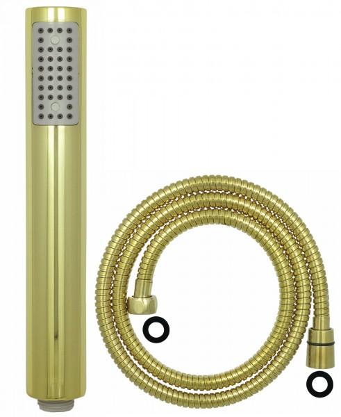 Handbrause Stabbrause Mikrofondusche 150 cm Schlauch Gold 03038