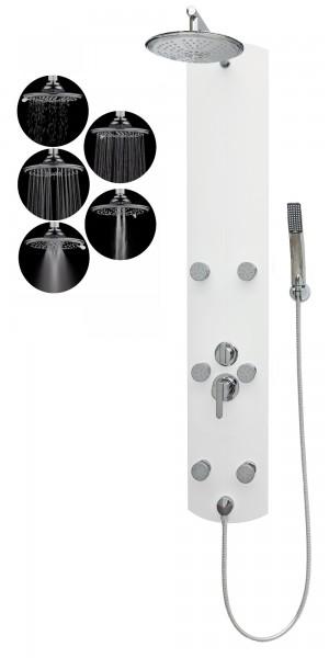 Duschpaneel Duschsäule Regendusche Massagedüsen Aluminium Weiß A003W-R5