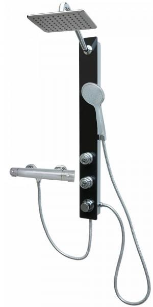 Thermostat Glas Duschpaneel Regendusche Massagedüsen Schwarz 085-7B-24x19-812T