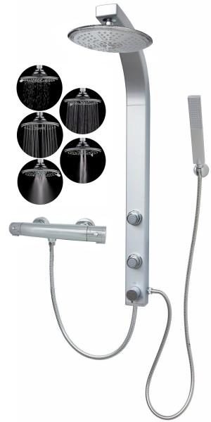 Thermostat Duscharmatur Duschsäule Regendusche 5 Funktionen Silber 081cs-R5-T