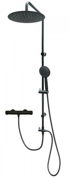 Duschsystem mit Thermostat Edelstahl Duschset Regendusche Schwarz 306-812T-Schwarz
