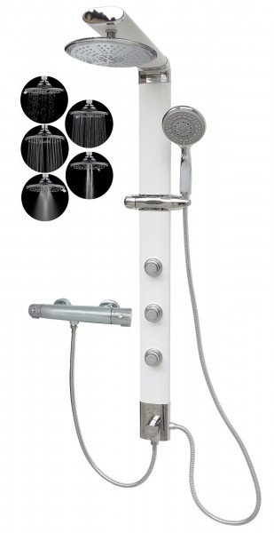 Duschsäule Thermostat Duschpaneel Regendusche 5 Funktionen Weiß 035W-R5-T