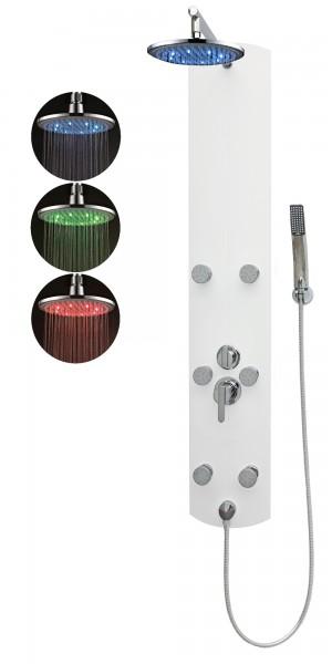 Duschpaneel Duschsäule Regendusche Massagedüsen Aluminium Weiß A003W-0820