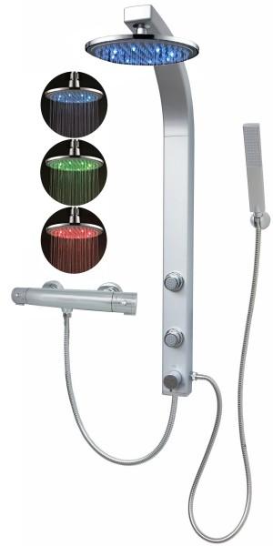 Thermostat Duschpaneel LED Regenwalddusche Eckmontage Silber 081cs-0820-T