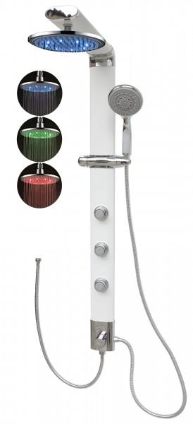 Duschsäule schmal Eckmontage Duschpaneel Led Regendusche Weiß 035W-0820