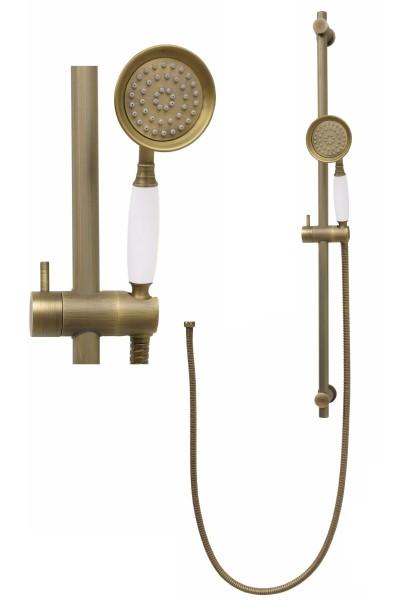 Duschset Duschstange variabel Handbrause Brauseschlauch Antik S80-080-150cm