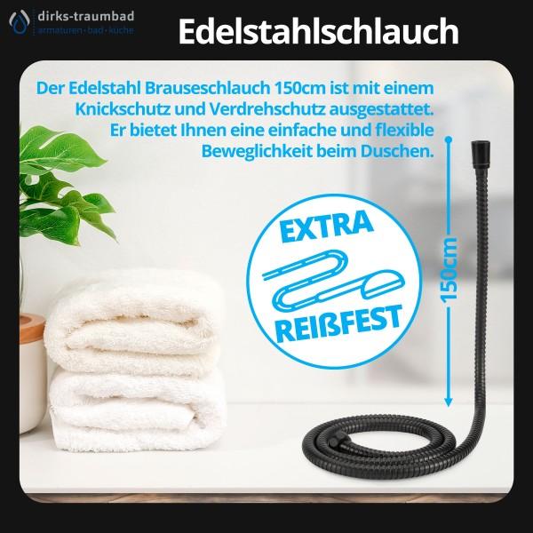 Brauseschlauch Duschschlauch Edelstahl Verdrehschutz in 150cm Schwarz