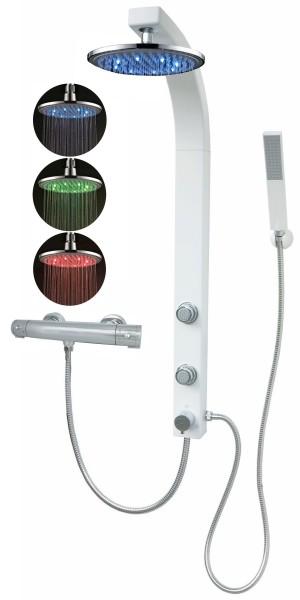 Duschpaneel Duschsäule Duschset Thermostat Led Regendusche weiß 081W-0820-T