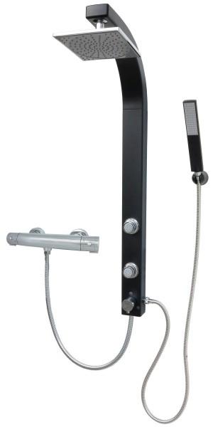 Duscharmatur Thermostat mit Regendusche Dusche Schwarz Eckmontage 081B-T