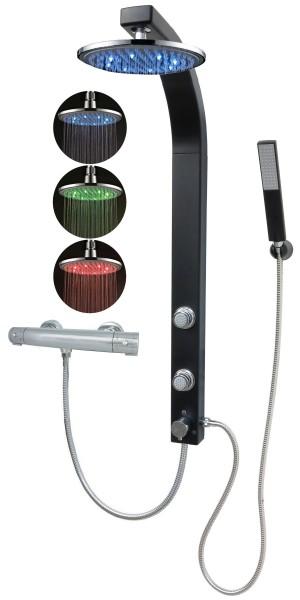 Duschpaneel Brausepaneel Thermostat Led Regendusche Schwarz 081B-0820-T