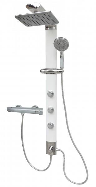 Duschsäule Thermostat Duschpaneel Regendusche Weiß Eckmontage 035W-24x19-T
