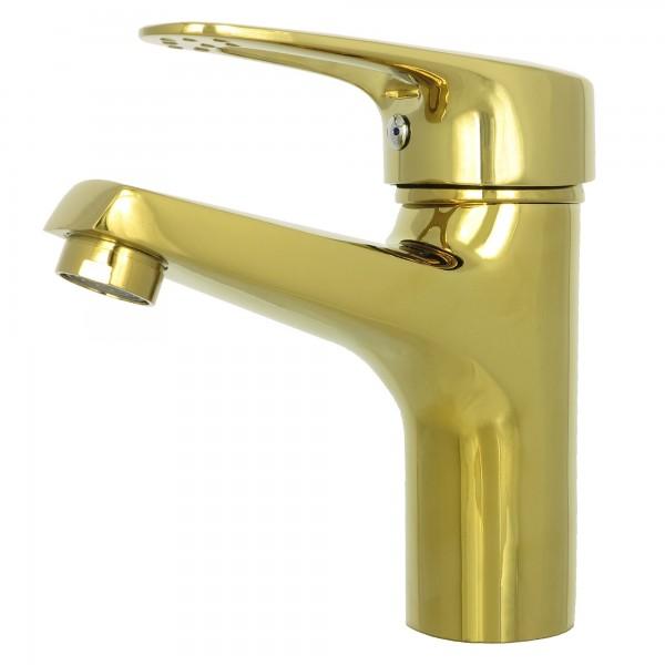 Einhebelmischer Waschbeckenarmatur Waschtischarmatur Badarmatur Gold 05-1