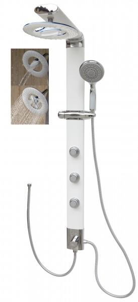 Duschsäule ohne Armatur Duschpaneel schmal Wasserfall Regendusche Weiß 035W-RW