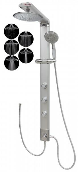 Duschpaneel Eckmontage Duschsäule Silber Regendusche 5 Funktionen 035cs-R5