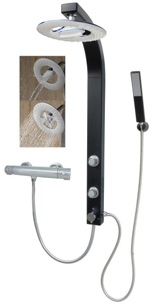 Duschpaneel Brausepaneel Duschsäule Thermostat Regendusche Schwarz 081B-RW-T