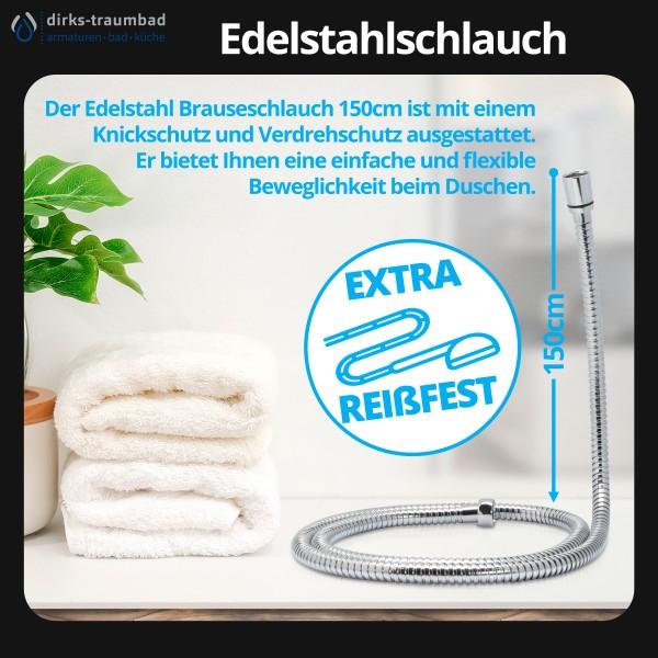 Brauseschlauch Duschschlauch Edelstahl Verdrehschutz in 150cm Chrom