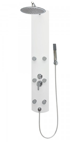 Duschsäule mit Regenwalddusche Massagedüsen Einhebelmischer Weiß A003W-25cm