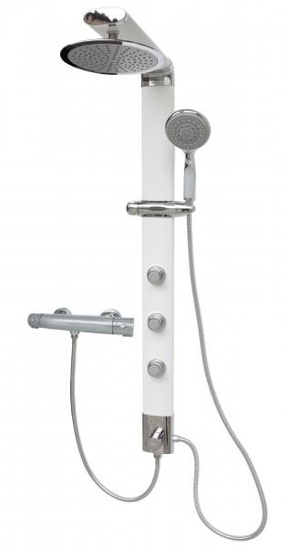 Duschsäule Weiß Thermostat Duschpaneel schmal große Regendusche 035W-25-T