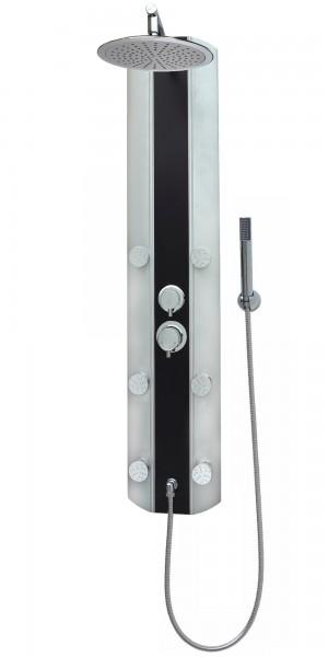 Duschsäule Aluminium Schwarz Regendusche Silber Eckmontage mit Armatur A029-25cm