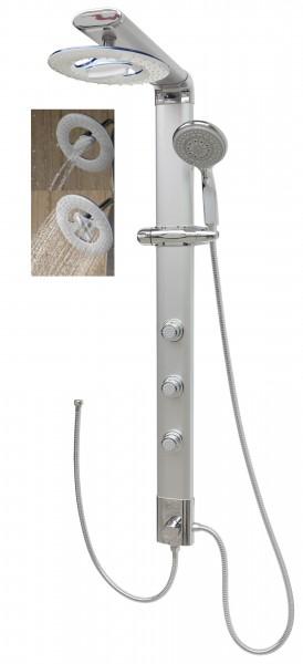 Duschpaneel Eckmontage Duschsäule Wasserfall Regendusche Silber 035cs-RW