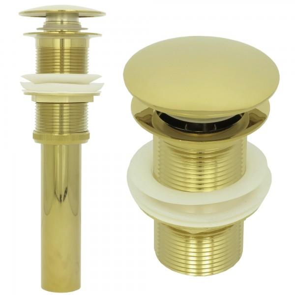 Ablaufventil Ablaufgarnitur Pop Up Ablauf Abfluss ohne Überlauf Gold