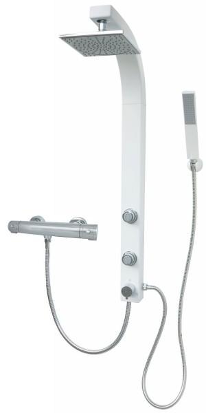 Thermostat Duschset Weiß mit Regendusche Eckmontage und Massagedüsen 081W-T