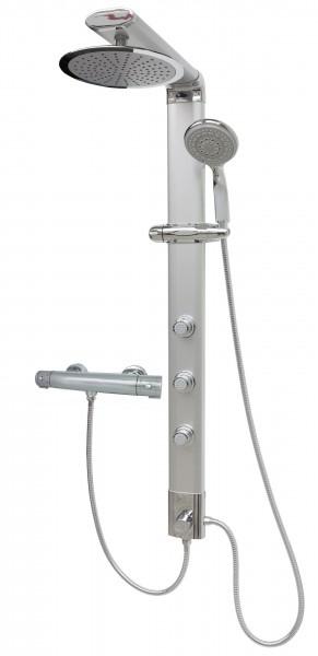 Duschpaneel Duschsäule Regendusche Duschset Silber Thermostat 035cs-25cm-T