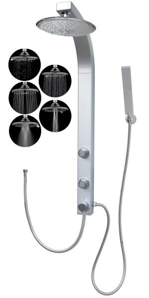 Duschpaneel Eckmontage Duschsäule Regendusche 5 Funktionen Silber 081cs-R5