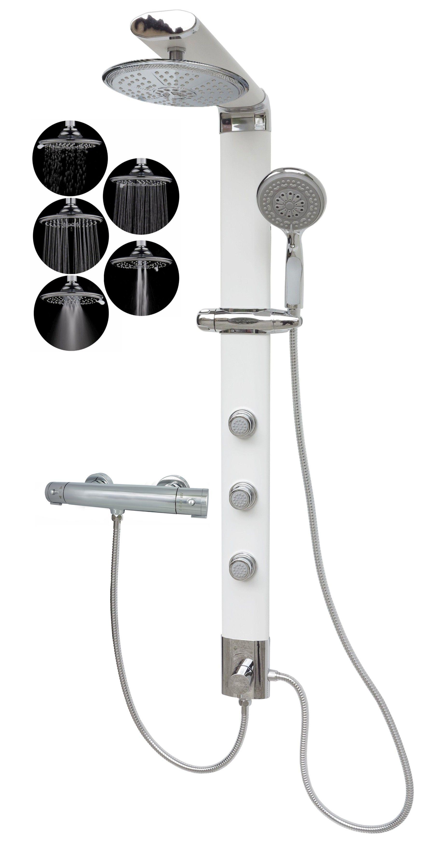 duschs ule duschpaneel regendusche 5 funktionen wei thermostat 035w r5 t badarmaturen. Black Bedroom Furniture Sets. Home Design Ideas