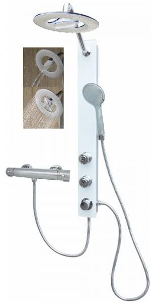 Glas Duschpaneel Brausepaneel Duschsäule mit Thermostat Weiß 085-7W-RW-T