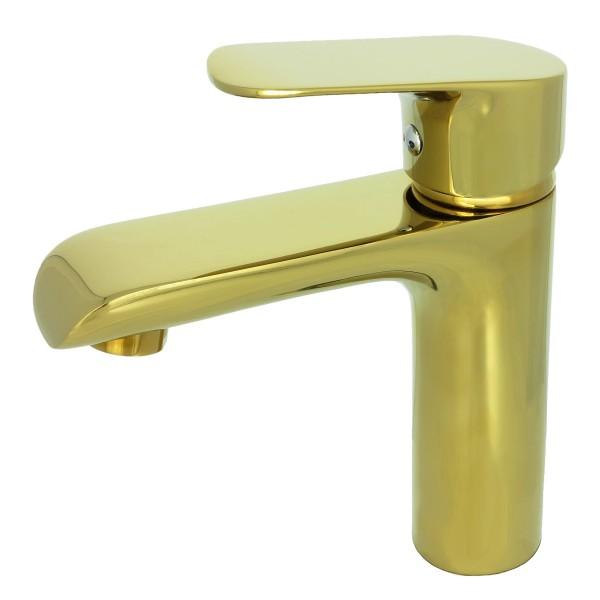 Einhebelmischer Waschbeckenarmatur Waschtischarmatur Badarmatur Gold 014-1