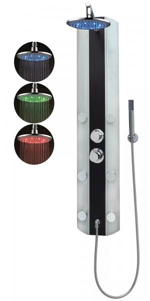 Duschpaneel Thermostat Dusche Regendusche Eckmontage Silber Schwarz A029T-0820