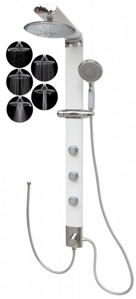 Duschsäule Weiß Duschpaneel schmal Regendusche 5 Funktionen 035W-R5