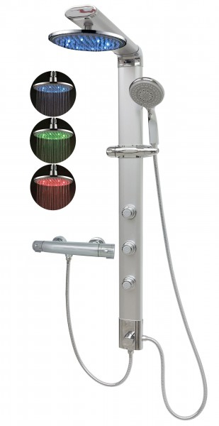 Duschpaneel Thermostat Led Regendusche Dusche Silber Eckmontage 035cs-0820-T