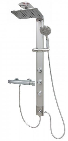 Thermostat Duschsäule Regendusche Duschset Silber Eckmontage 035cs-24x19-T