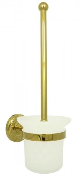 Retro WC Toiletten Bürstengarnitur Bürstenhalter Milchglas Gold 9008
