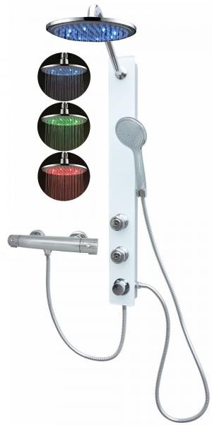 Glas Duschpaneel Brausepaneel Duschsäule Thermostat Led Weiß 085-7W-0820-T