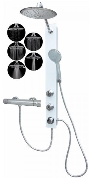 Glas Duschpaneel Brausepaneel Duschsäule mit Thermostat Weiß 085-7W-R5-T