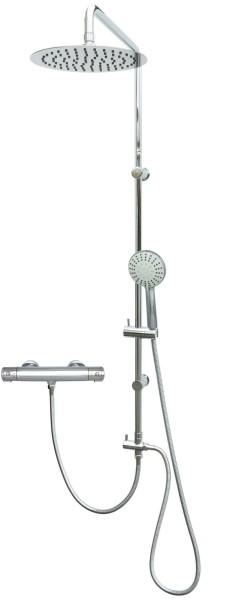 Duschsystem mit Thermostat Edelstahl Duschset Regendusche Chrom 306-812T-Chrom