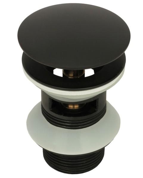 Ablaufventil Ablaufgarnitur Ventil Messing Pop Up mit Überlauf Schwarz