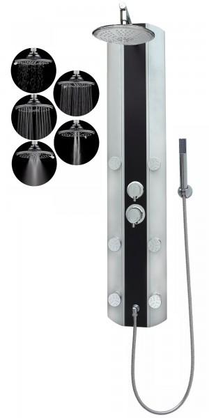 Duschsystem Regenwalddusche Eckmontage mit Armatur Silber Schwarz A029-R5