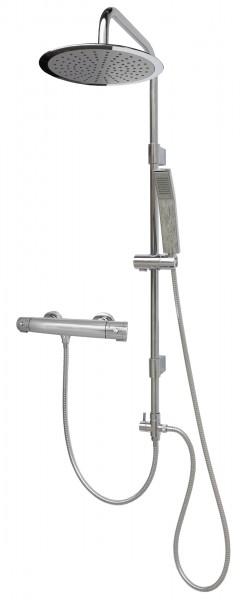 Thermostat Duschgarnitur mit Regendusche variable Halter Edelstahl 2525-25cm-812T