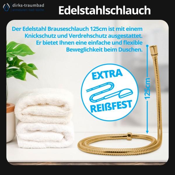 Brauseschlauch Duschschlauch Edelstahl 125cm Verdrehschutz in Gold