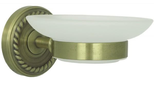 Seifenschale Vintage Seifenablage Retro mit Milchglas Schale Bronze 9004