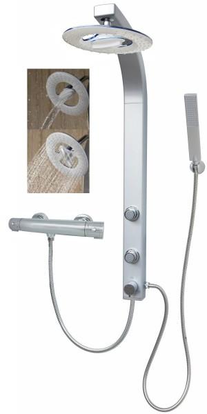 Duschpaneel Duschsäule Wasserfall Regendusche Thermostat Silber 081cs-RW-T