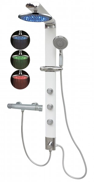 Duschsäule Thermostat Duschpaneel Led Regendusche Weiß 035W-0820-T