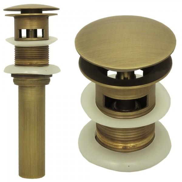 Ablaufventil Ablaufgarnitur Ventil Messing Pop Up mit Überlauf Antik