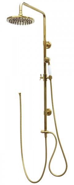 Retro Duschset Duschsystem Brauseset Dusche Regendusche Gold 2004