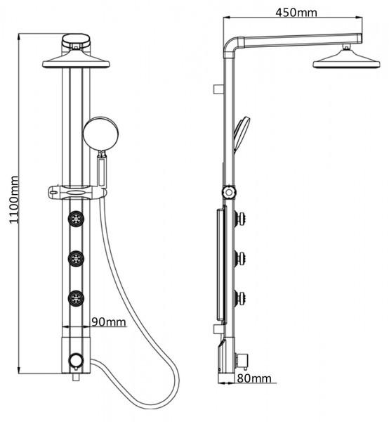 Thermostat Duschpaneel Wasserfall Regendusche Silber Eckmontage 035cs-RW-T